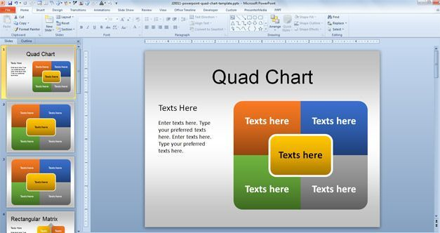 Microsoft Powerpoint Quad Chart Template In 2020 Powerpoint Templates Microsoft Powerpoint Powerpoint