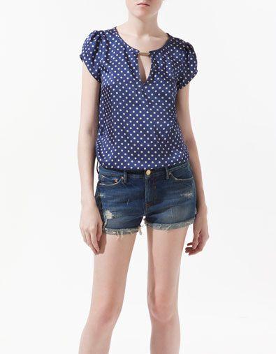 Blusa Estampada Lunares Camisas Mujer Zara España Blusas Femininas Roupas Casuais Blusas De Moda