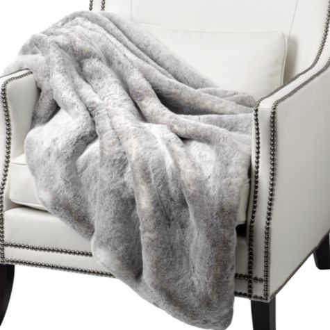 Perfect for cold winter day by a fire....and red wine    Chinchilla Throw - Grey from Z Gallerie