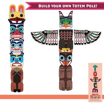 Totem Pole Clip Art Set Of The Pacific Northwest Aboriginal Art For Kids Totem Pole Craft Native American Totem Poles