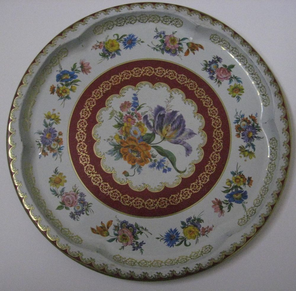 """Daher Decorated Ware Tray Made In England Vintage Daher Decorated Ware Round Tin 125"""" Floral Serving Tray"""