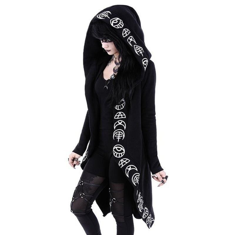 size 36 black Gothic kimono dress zipper pockets
