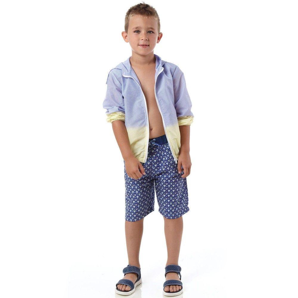 Fendi - Blue & Yellow 'FF Logo' Lightweight Jacket   Childrensalon