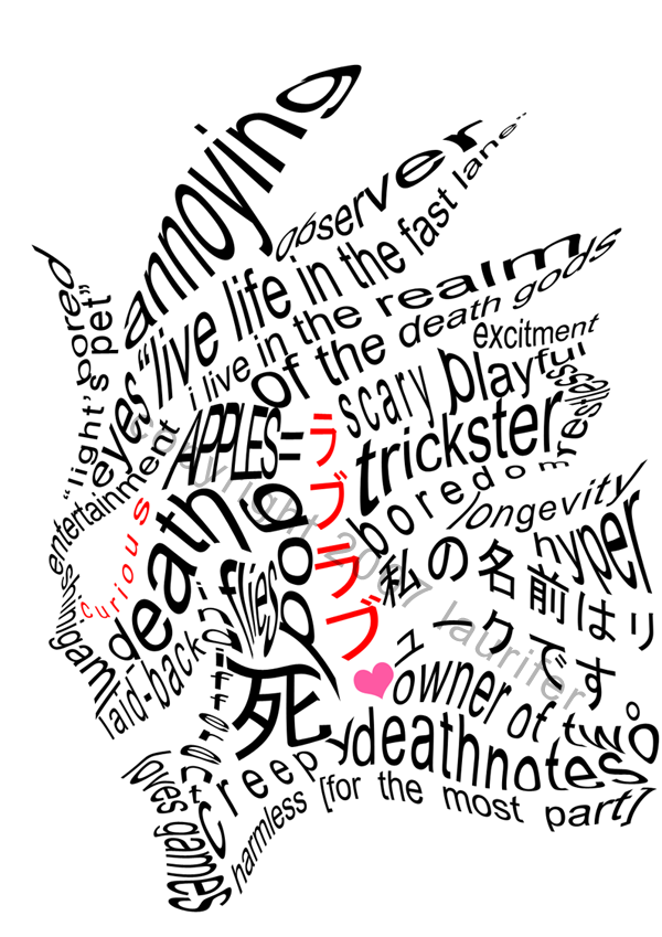 Death Note Ryuk wordplay by laurifer I'm into graphic stuff so this is a good homage to it thank you
