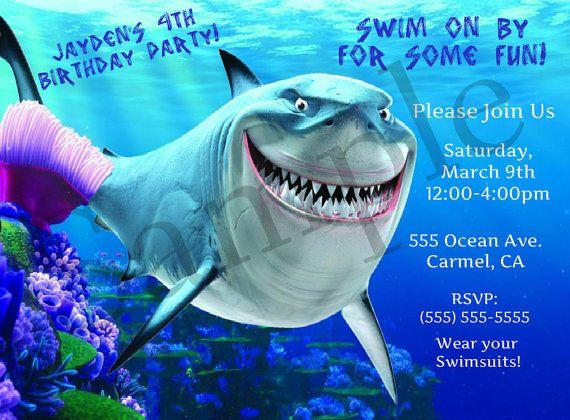 Finding Nemo Bruce Shark Birthday Party Invitation digital file