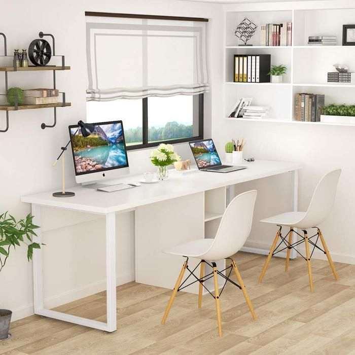 78 Extra Large Two Person Computer Desk With Shelf Double Workstatio Cliviaoffice Home Office Design Home Computer Desk With Shelves