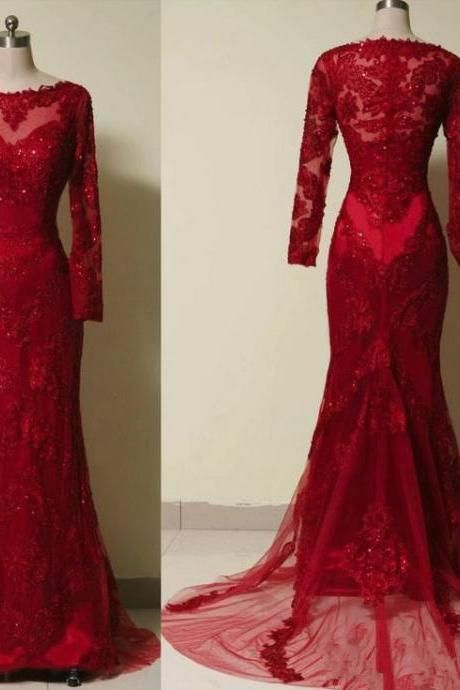 Beautiful handmade lace applique gauze ball gown Red wine Red PROM ...
