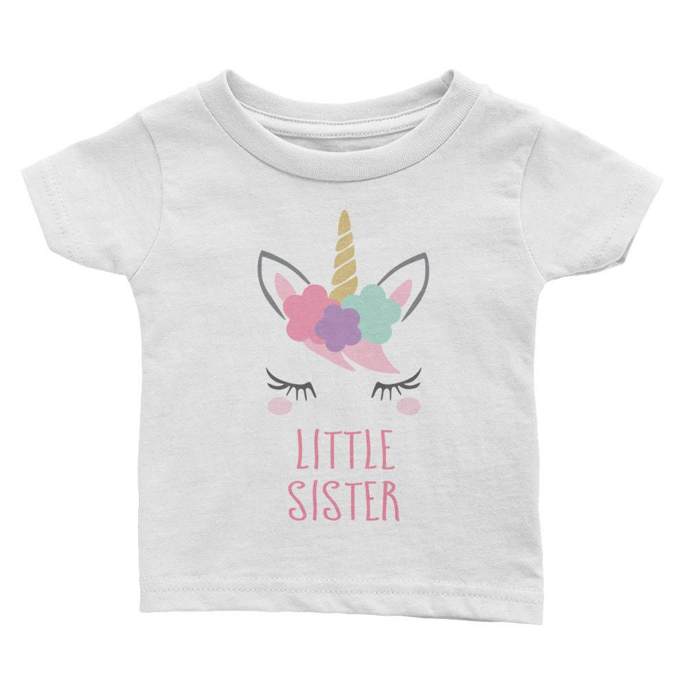 Little Sister Unicorn Girls T-Shirt Printed Pregnancy Reveal Party Gift Top Pink