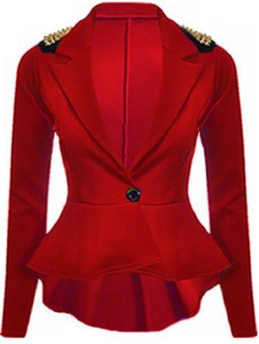 b5e4a44fc2418 SugerDiva - Blazer Blouson - 1 bouton - style péplum - épaule clouté - rouge  -