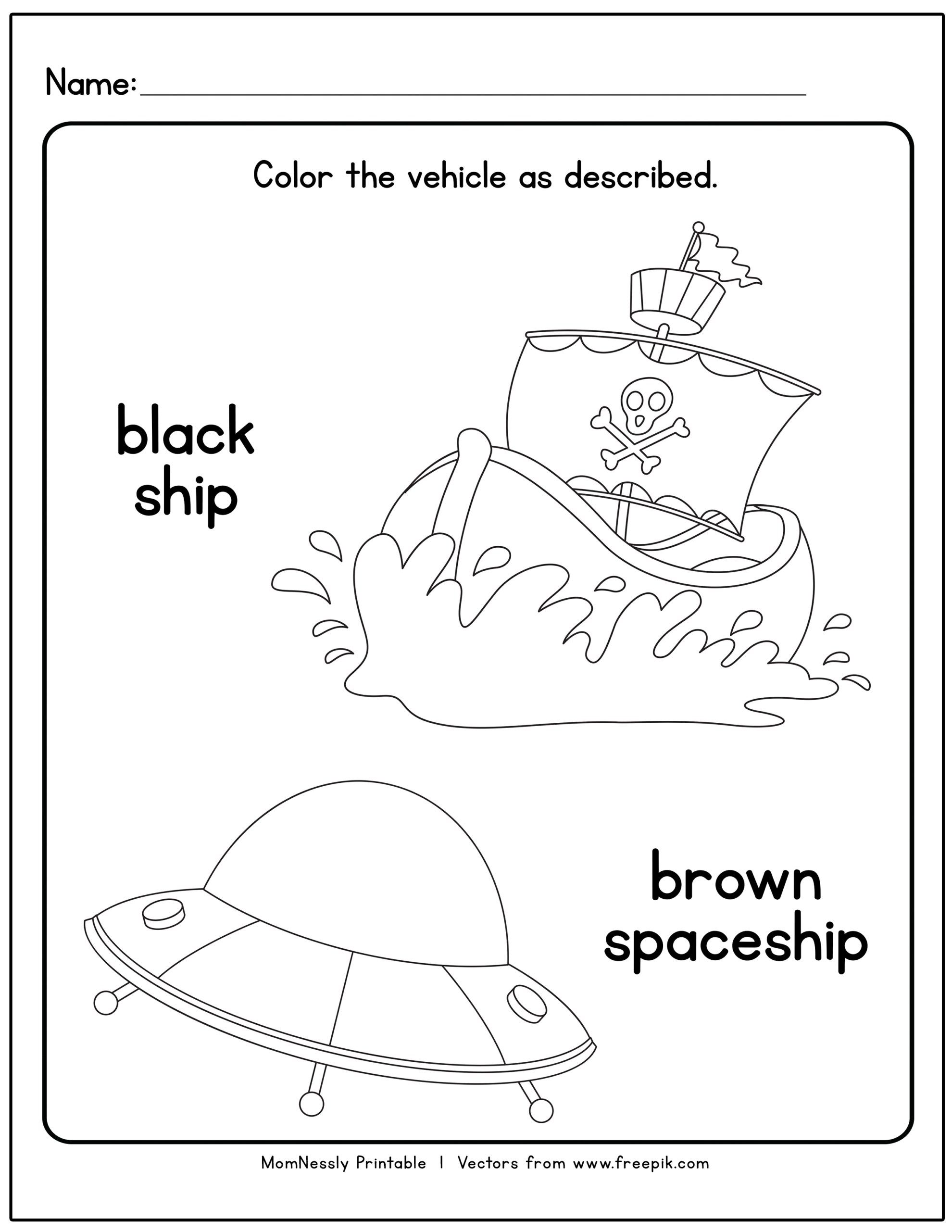 Transportation Themed Coloring Worksheets In