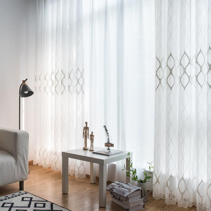 Modern Simple Sheer Curtain Geometry Jacquard Sheer Curtain Living