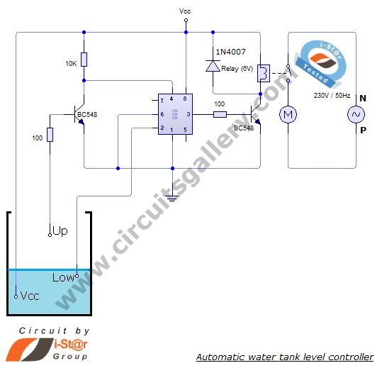 automatic water tank level controller motor driver circuit rh pinterest com Reese Brake Controller Wiring Diagram Solar Charge Controller Diagram