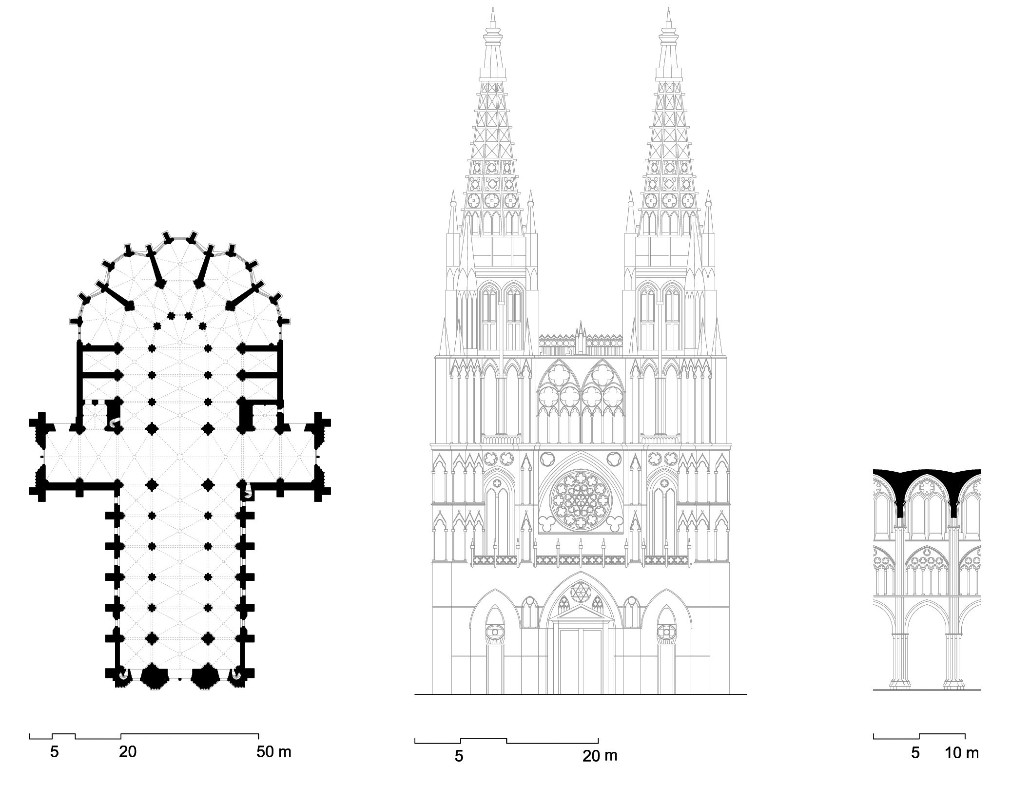 Planta alzado y corte interior de la catedral de burgos - Alzado arquitectura ...