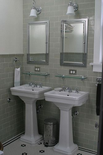 Remodeled Bathrooms With Pedestal Sinks tiny dual sinks. bathroom wall tile design, pictures, remodel