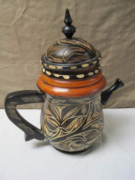 Cool Carved Wooden Teapot and Teacups