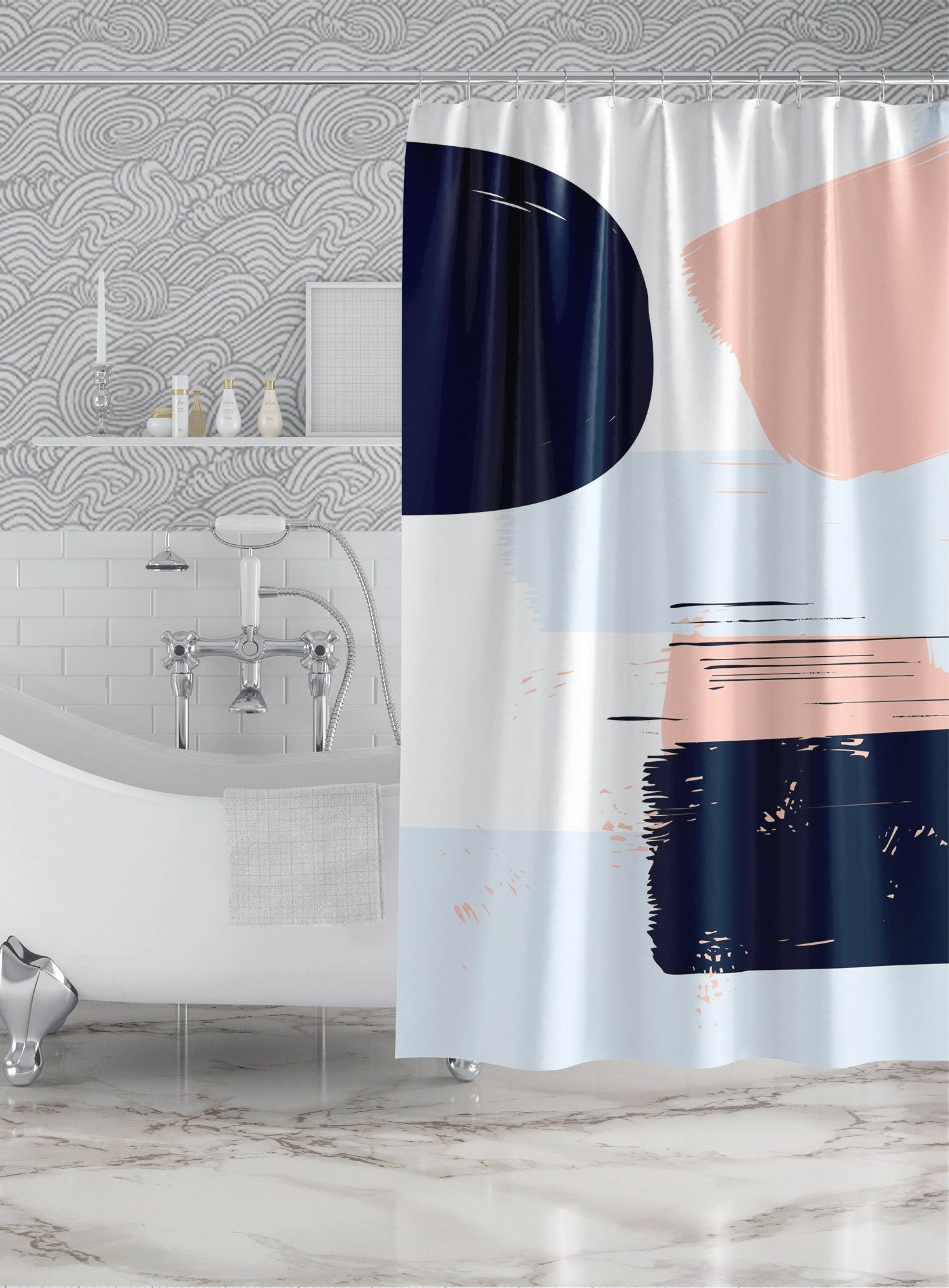 Abstract Navy Blue Pink Shower Curtain Custom Printed Bath Curtain Fabric Shower Curta Pink Shower Curtains Plastic Shower Curtain Blue Bathroom Accessories
