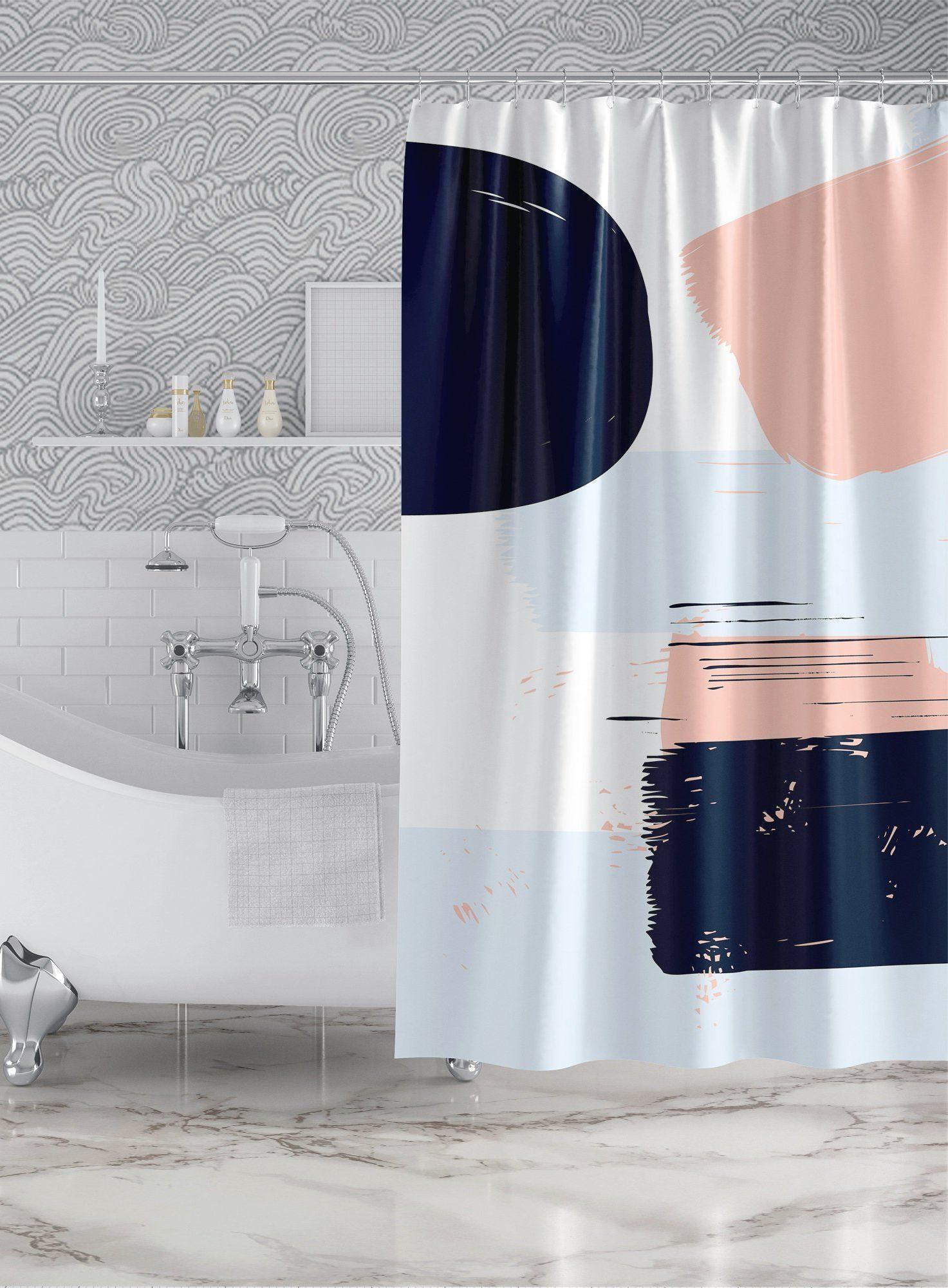 Abstract Navy Blue Pink Shower Curtain Custom Printed Bath