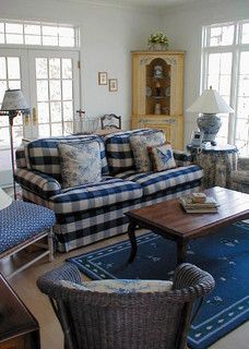 Navy Buffalo Check Sofa Farmhouse Decor Living Room Cottage