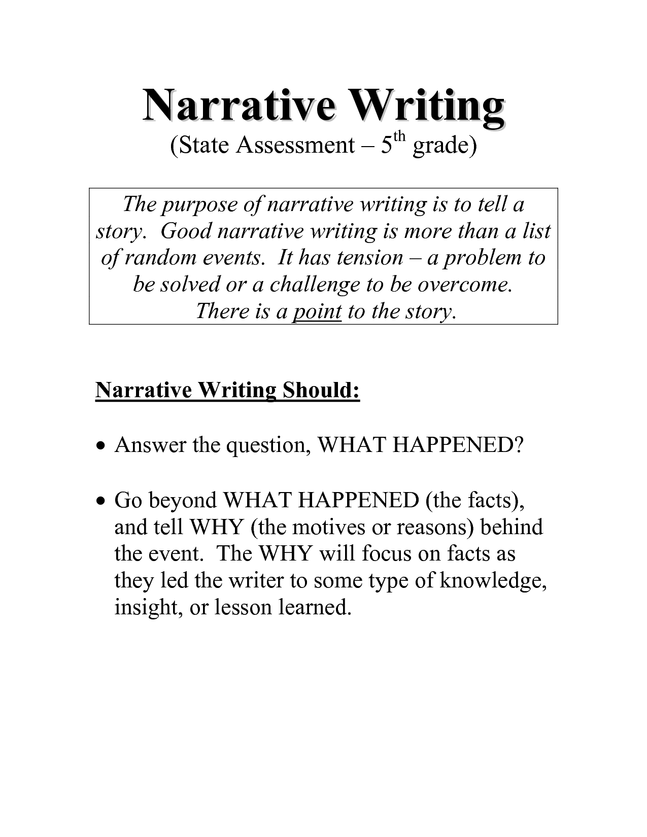 personal narrative examples 5th grade
