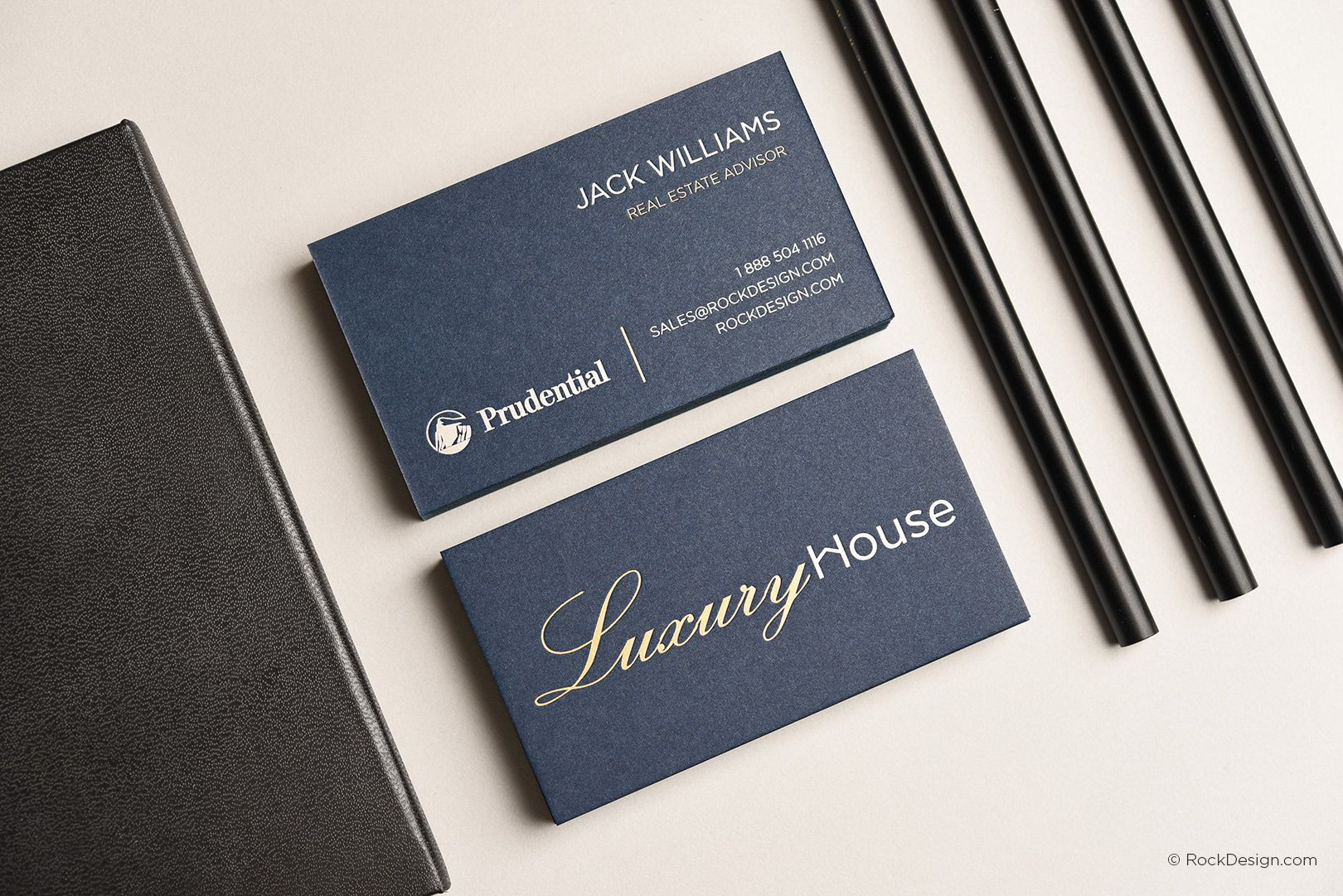 Professional Realtor Navy Card With Foil Stamping Luxury House Rockdesign Luxury Busines Foil Business Cards Printing Business Cards Luxury Business Cards