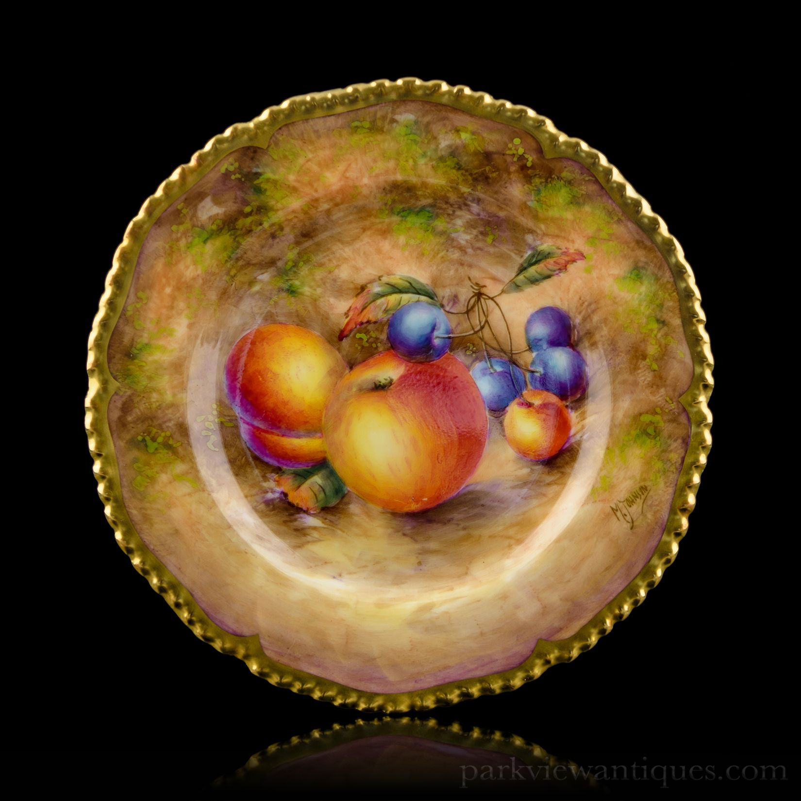 Royal Worcester Fruit Painted Cabinet Plate by M. Johnson ...