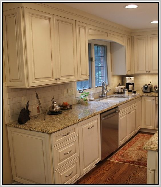 Cottage Kitchen Countertops: Venetian Gold Granite Countertops