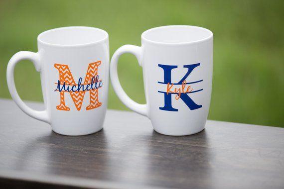 chevron monogram mugs custom