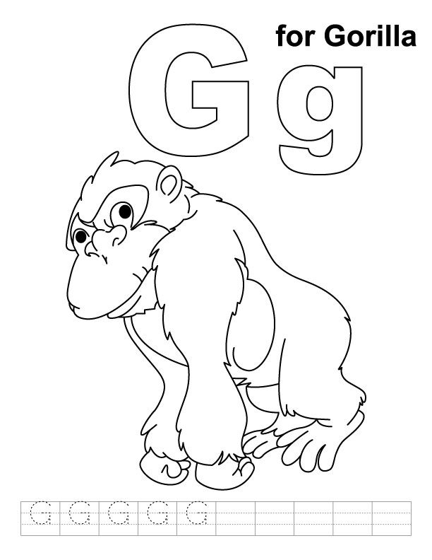 G for gorilla coloring page to keep toddler busy while