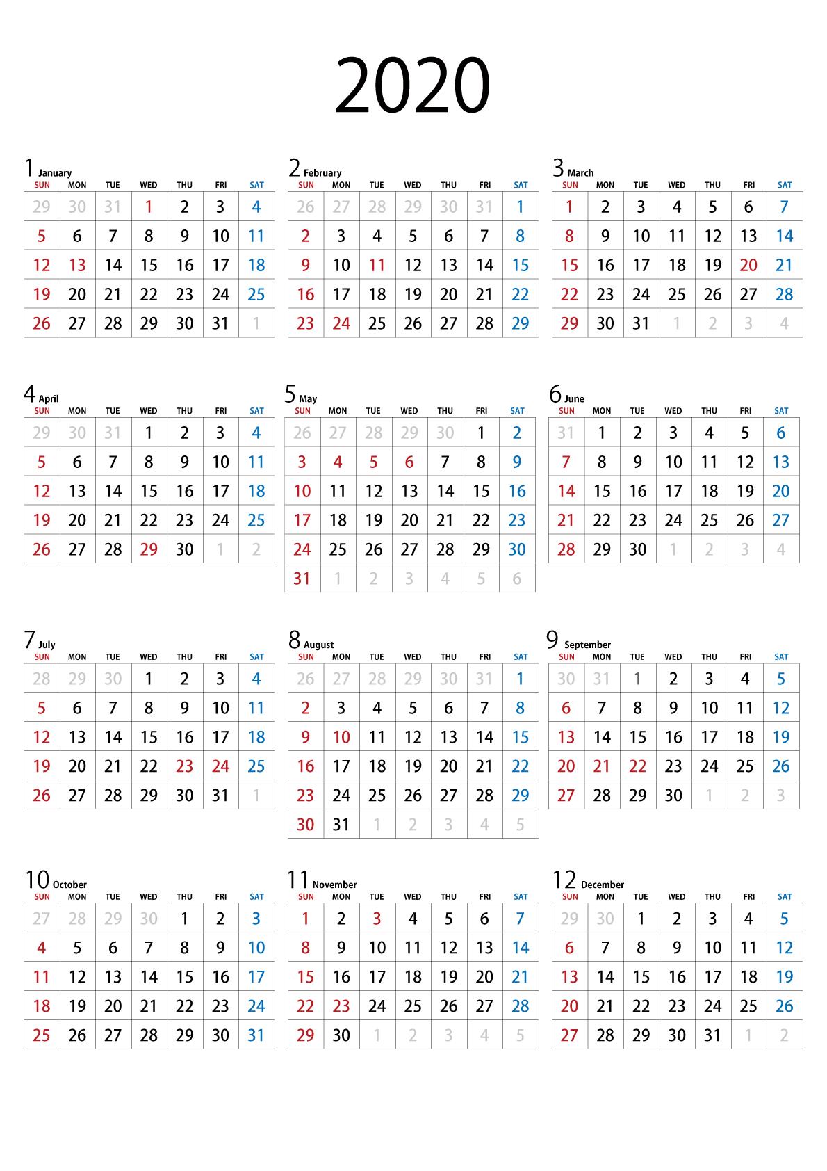 年 カレンダー 2020