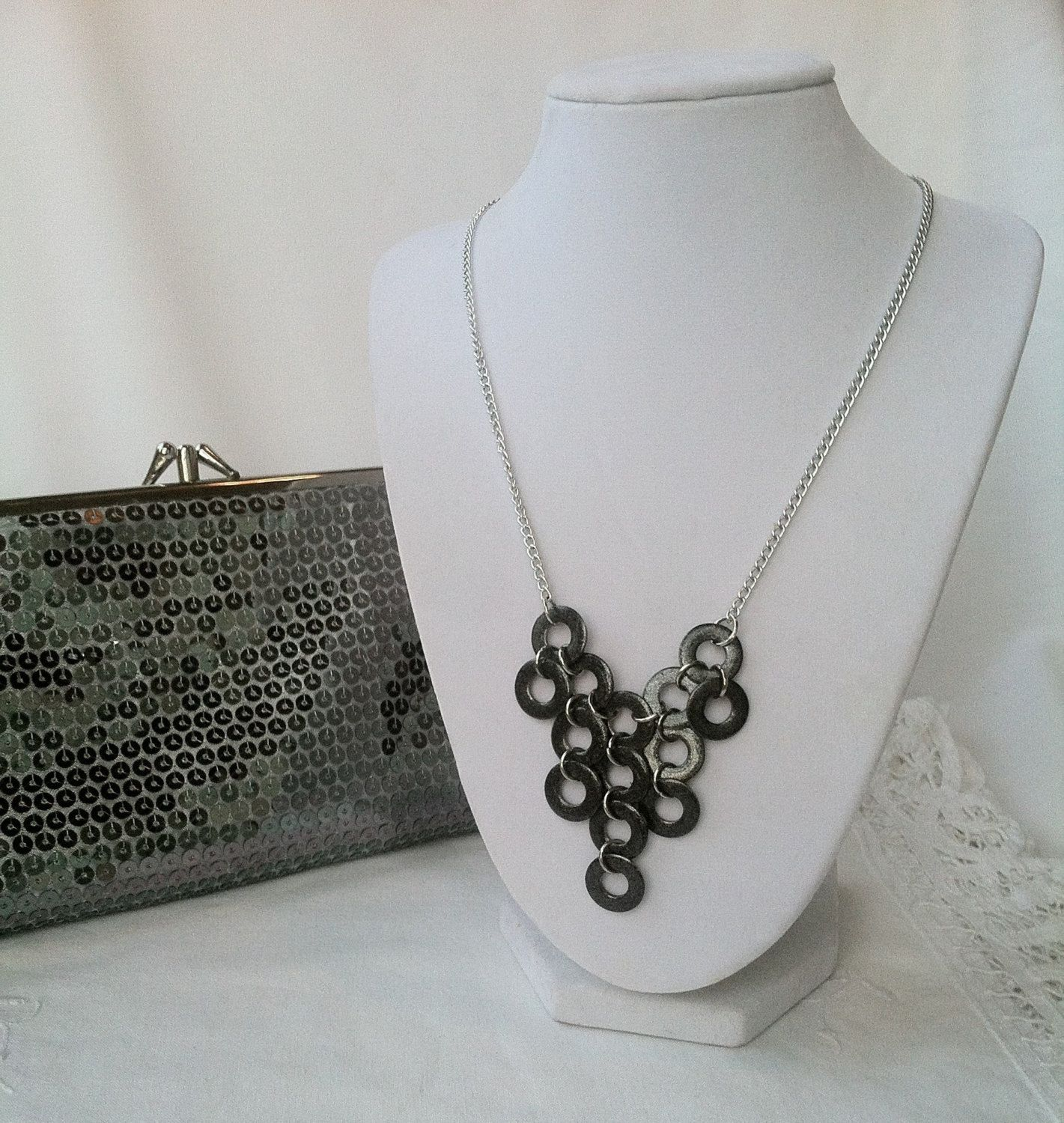 Gunmetal Hand Painted Washer Bib Statement Necklace by SisterChicDesigns on Etsy