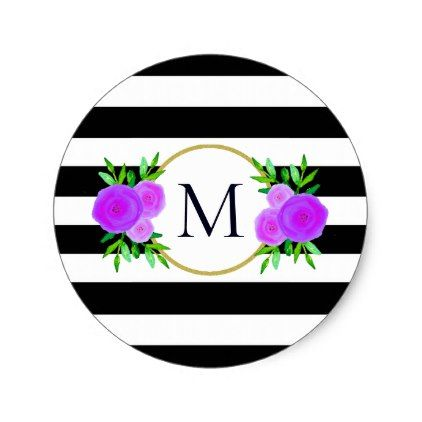 Cute black white striped purple floral monogram classic round sticker simple clear clean design style