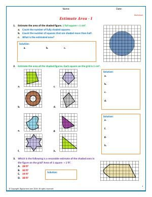 Worksheet | Estimate Area - I | Shapes are drawn for you on a grid ...