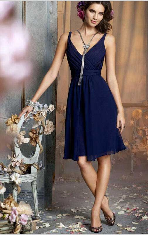 72b8682c15f A-line Spaghetti Straps Chiffon Dark Navy Bridesmaid Dress With Ruffles