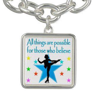 DREAM OF SKATING BRACELETS Beautiful figure skating jewelry for your Ice Princess. http://www.zazzle.com/mysportsstar/gifts?cg=196621838645756107&rf=238246180177746410 #figureskating #Figureskater #Figureskatinggifts #BorntoSkate #Loveskating #Skatingjewelry #Skaterjewelry