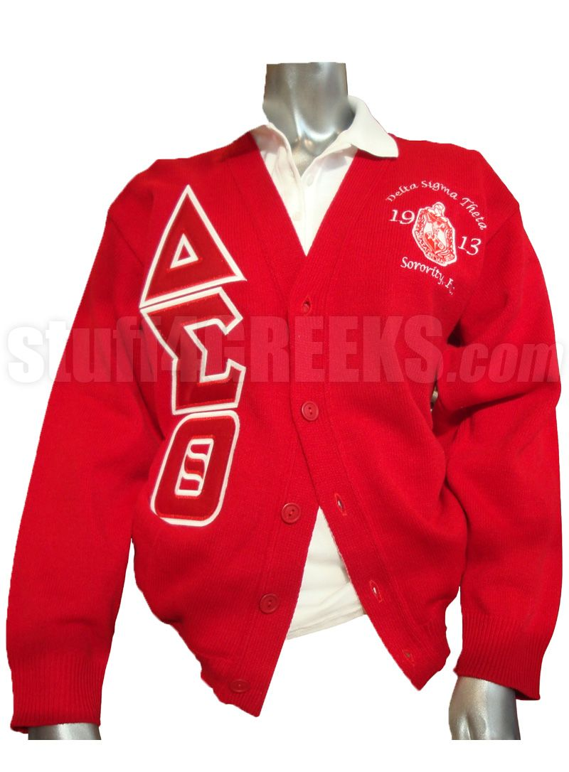 Delta Sigma Theta Cardigan With Letters And Crest Red Item Id Pre