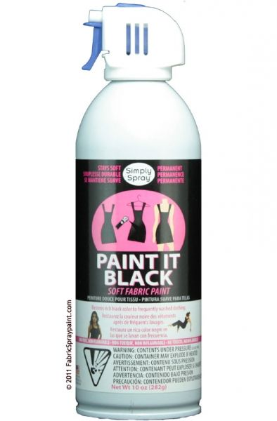 Paint It Black Clothing Restorer, Keep the black items in your wardrobe looking crisp and new without the hassle of messy dyes. Paint It Black touch-up spray paint for fabric is easy to use and economical. Dries softly, non toxic, permanent.