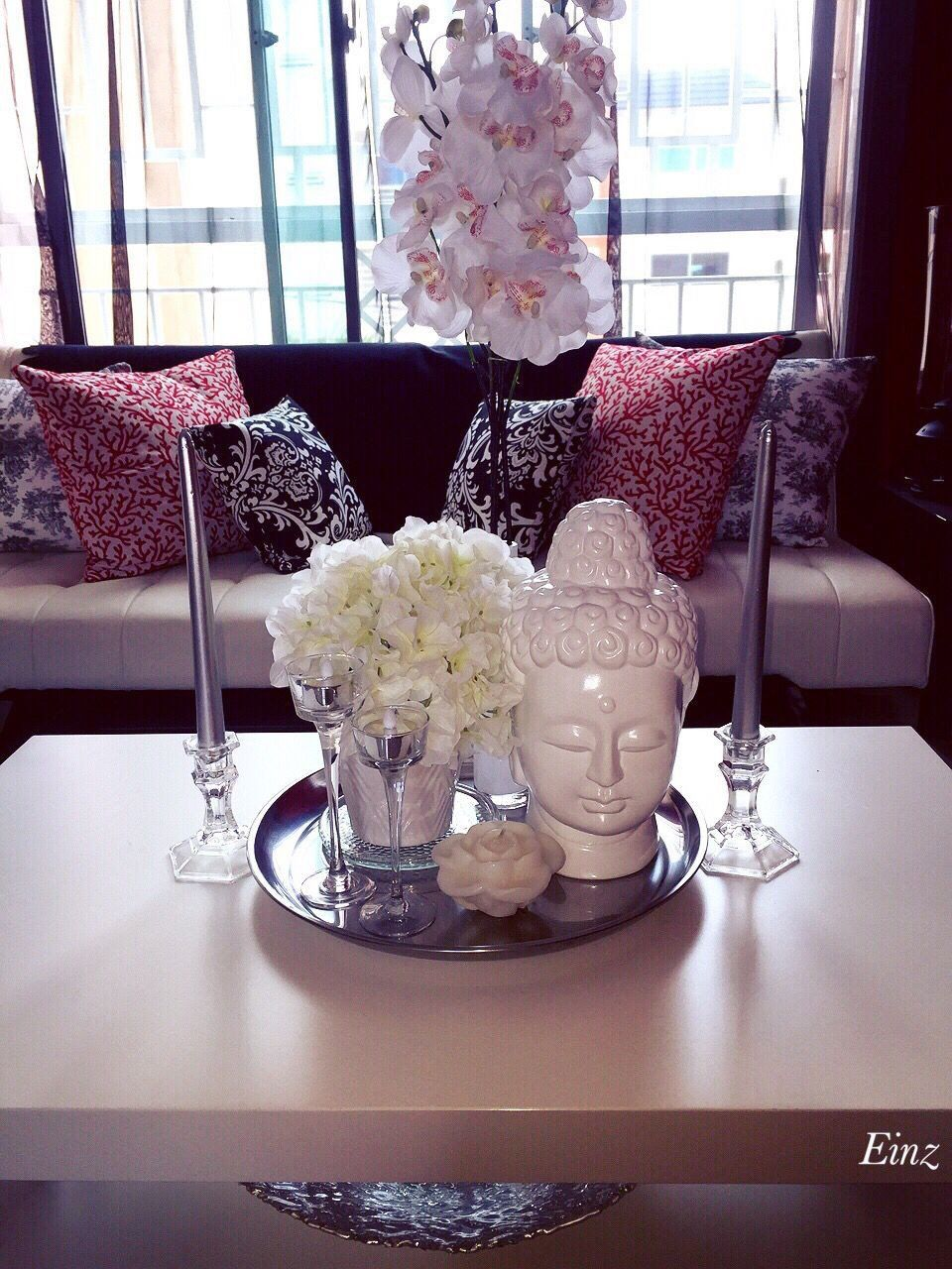 Tray Decoration Ideas Best Of White Silver Coffee Table Decor Hydrangeas Orchids Buddha In 2020 Glass Coffee Table Decor Coffee Table Centerpieces Side Table Decor