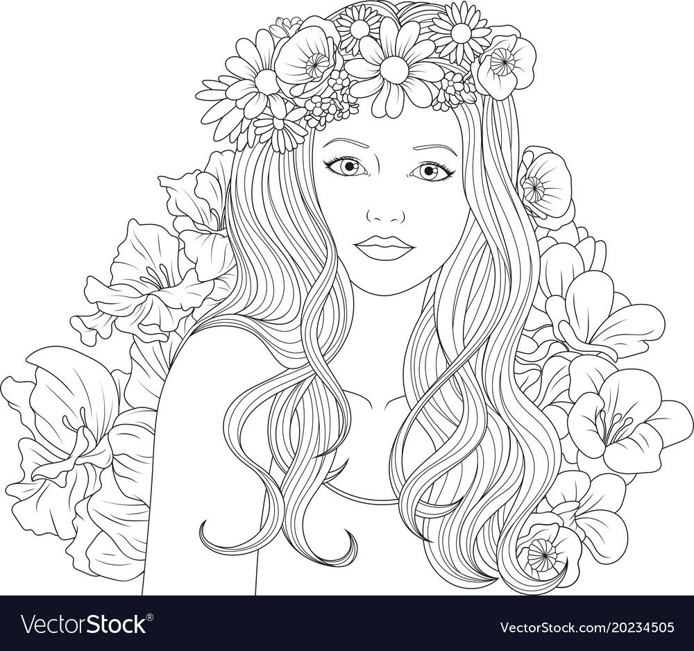Beautiful Girl Coloring Pages Vector Image On With Images