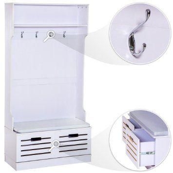 Tectake guardaroba con panca con due cassetti in legno appendiabiti mobile ingresso - Amazon mobili cucina ...