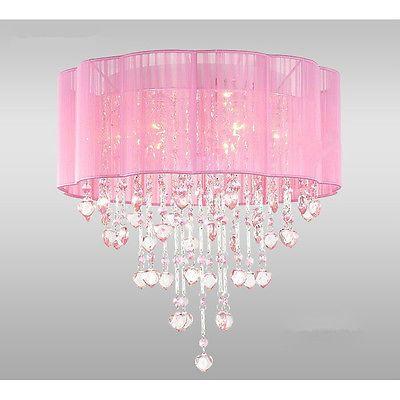 Y Light Chandelier Pink Lamp Crystal Sparkle Lighting Bedroom Ceiling