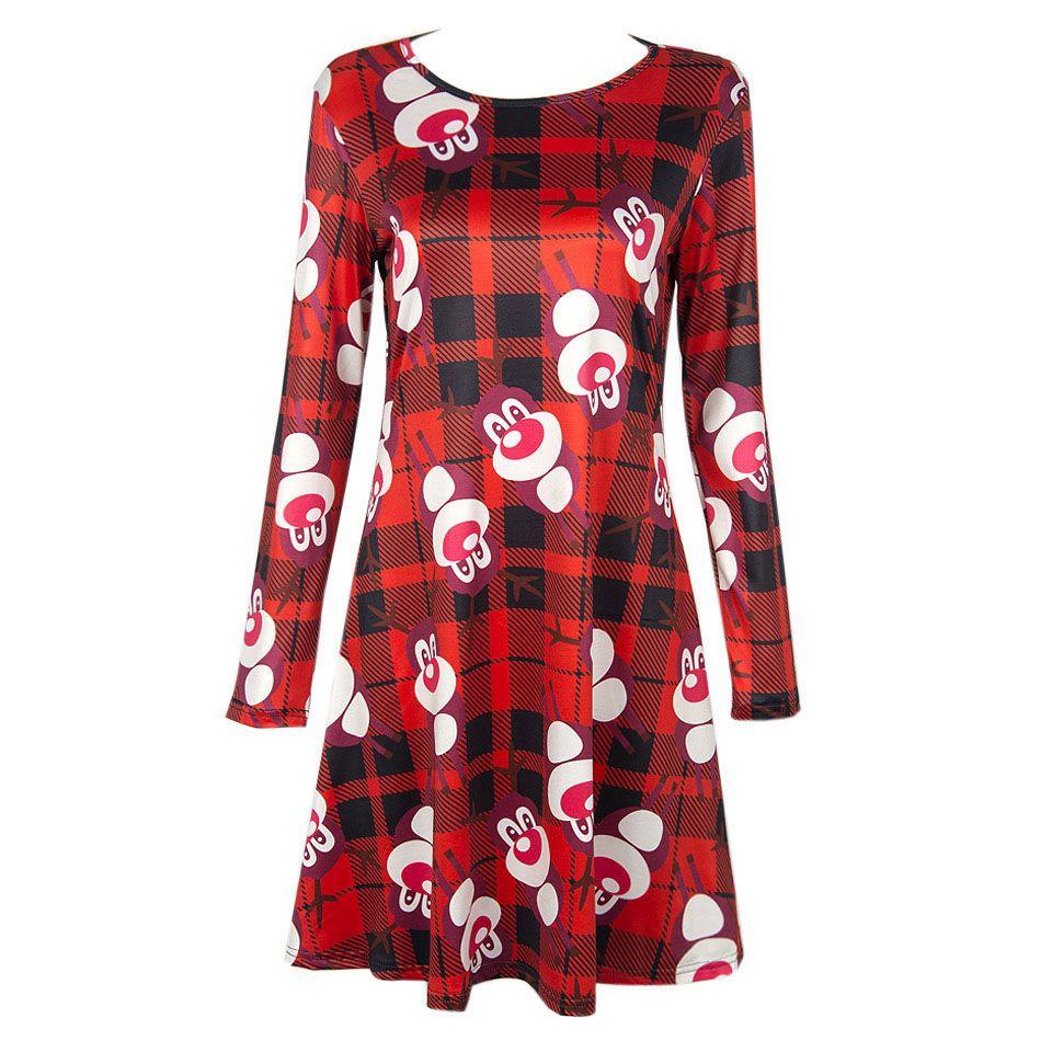 099ac542dc59 New 2017 ladies elegant plaid red dress Christmas deer character print  women long sleeve casual plus size fashion dress