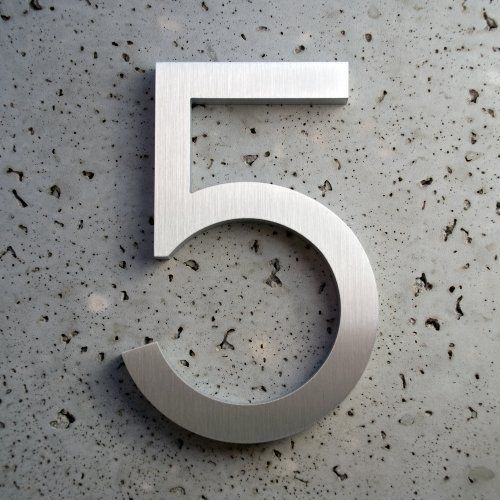 Modern house number aluminum modern font number five 5 8 inch by moderndwellnumbers com