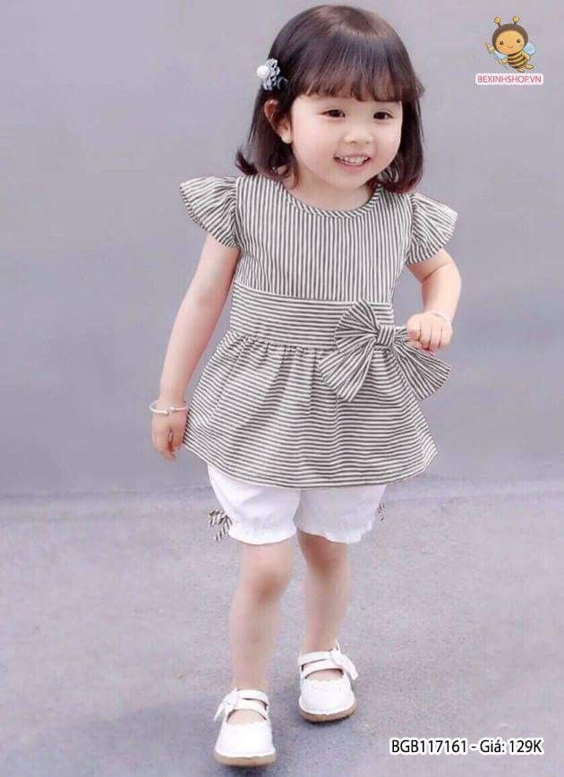 Baby Girls Sleeveless Ruffles Outfits Solid Color Top Shirts with Stripe Skirt