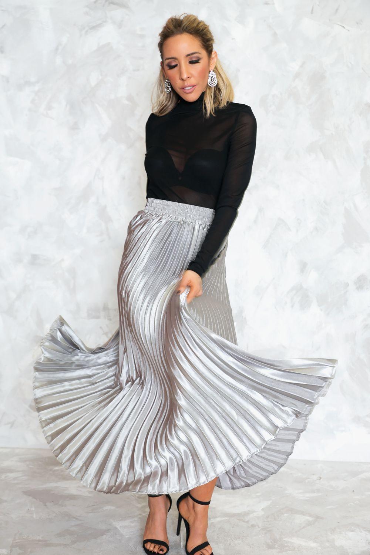 9622c9f92e1 Opposites Attract Pleated Long Skirt - Silver – Haute   Rebellious ...