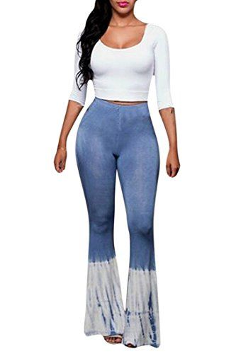 6ffac9769 Womens 2 Piece Scoop Neck Crop Top Flared Bell Bottom Pants Set ...