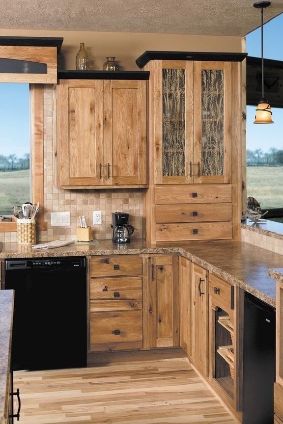 Hickory cabinets rustic kitchen design ideas wood flooring pendant lights dream kitchen ideas Kitchen design mixed cabinets