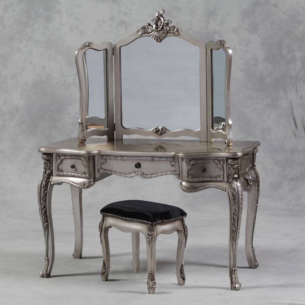 Large antique silver leaf dressing table 3 fold mirror for Vanity table set
