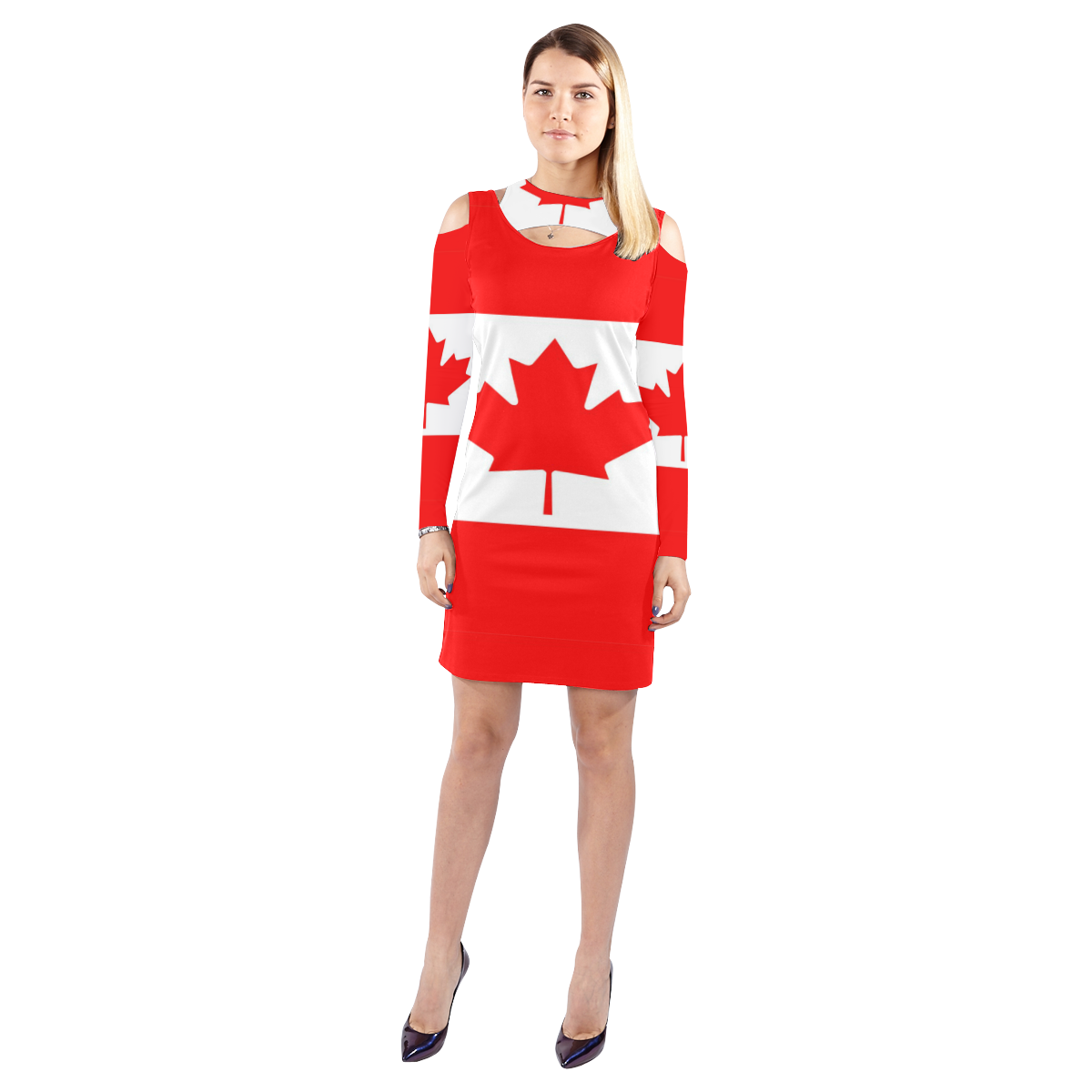 Canada cold shoulder long sleeve dress model d