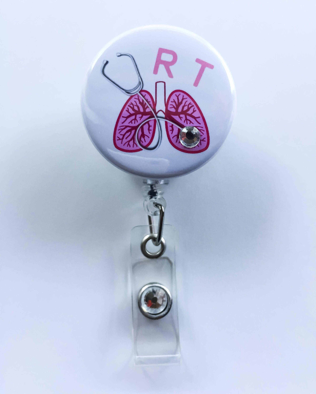 Respiratory Therapist ID Badge Reel Holder Clip Retractable RT Tech Nurse