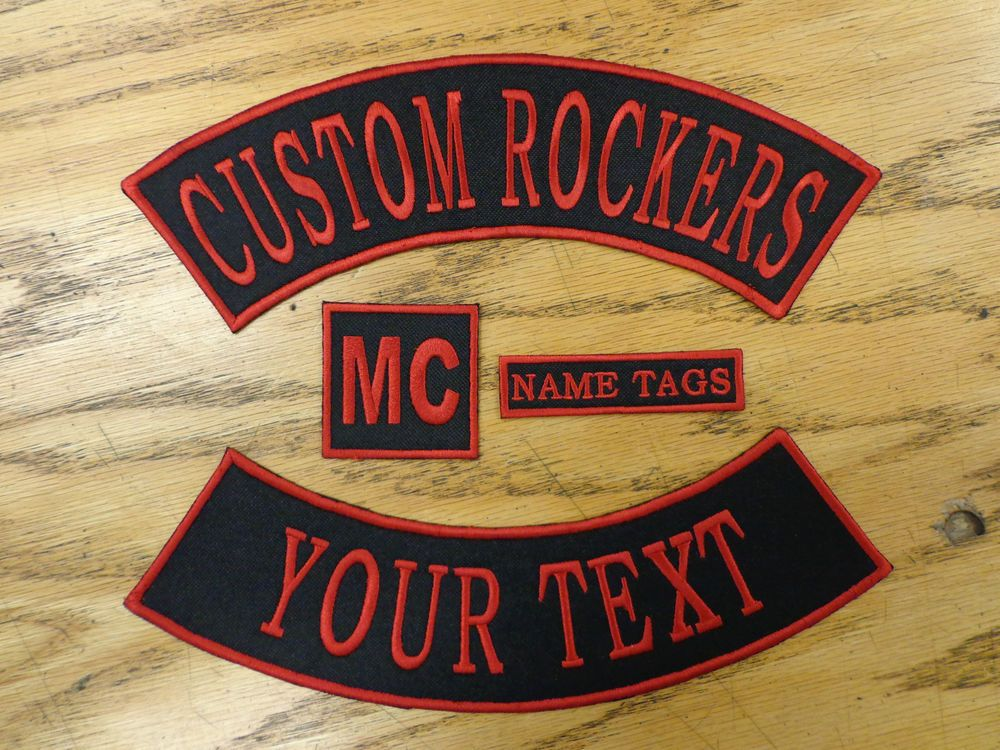 Custom Embroidered Rockers Name MC Set Patch Vest Outlaw Biker Club